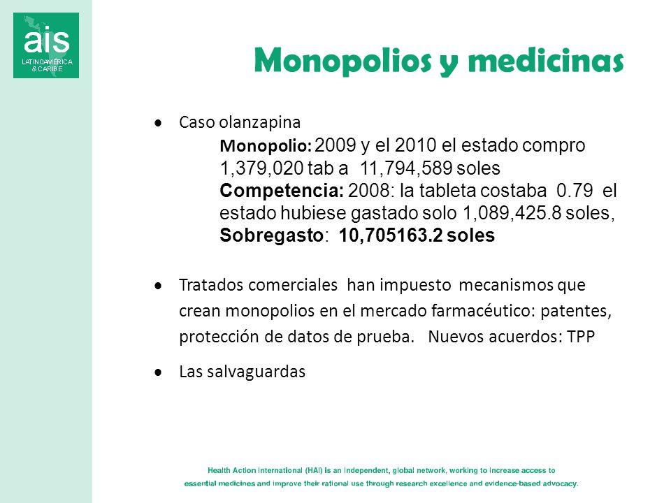 Monopolios y medicinas Caso olanzapina Monopolio: 2009 y el 2010 el estado compro 1,379,020 tab a 11,794,589 soles Competencia: 2008: la tableta costaba 0.79 el estado hubiese gastado solo 1,089,425.8 soles, Sobregasto: 10,705163.2 soles Tratados comerciales han impuesto mecanismos que crean monopolios en el mercado farmacéutico: patentes, protección de datos de prueba.