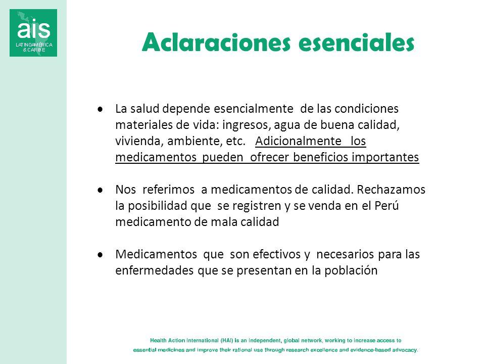 Aclaraciones esenciales La salud depende esencialmente de las condiciones materiales de vida: ingresos, agua de buena calidad, vivienda, ambiente, etc.