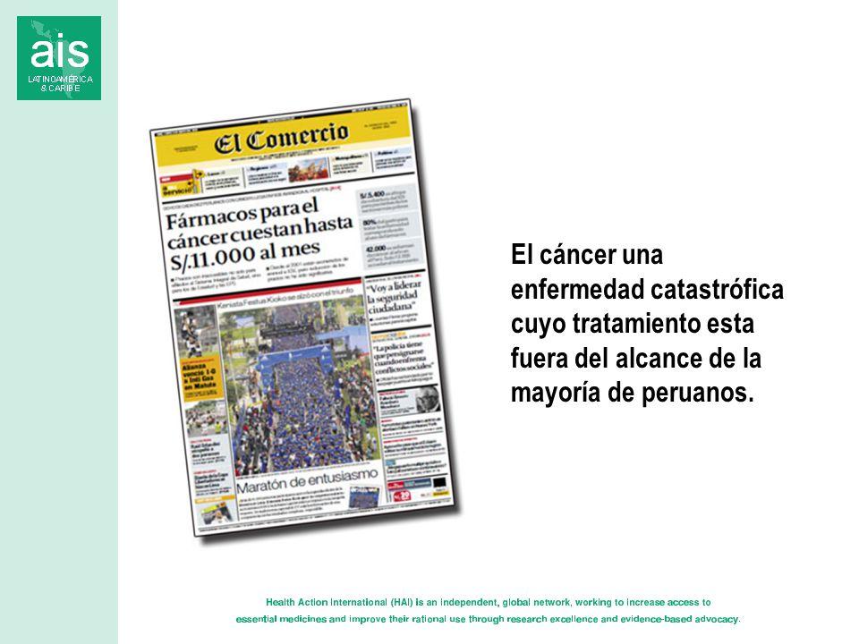 El cáncer una enfermedad catastrófica cuyo tratamiento esta fuera del alcance de la mayoría de peruanos.