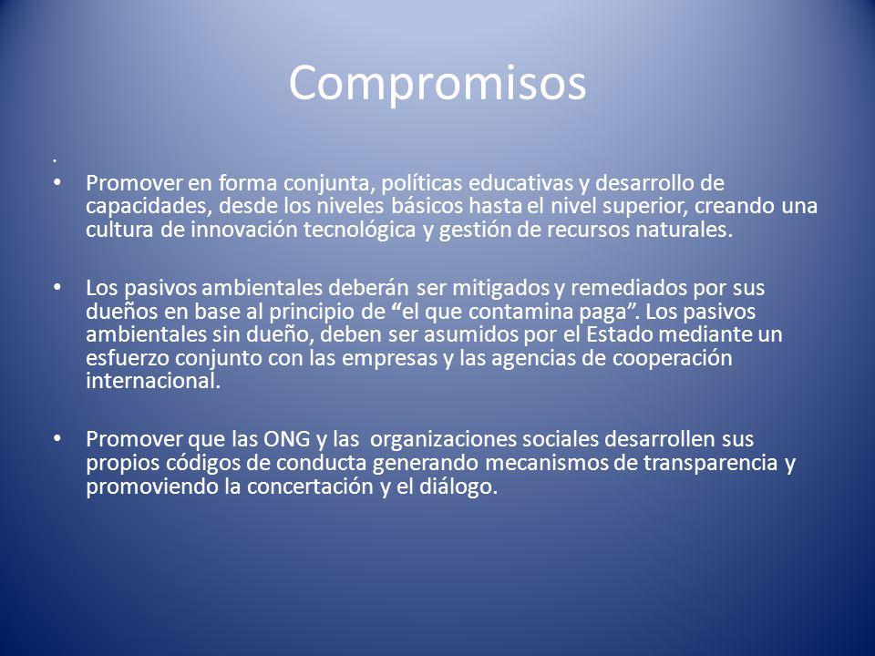 Compromisos Promover en forma conjunta, políticas educativas y desarrollo de capacidades, desde los niveles básicos hasta el nivel superior, creando u