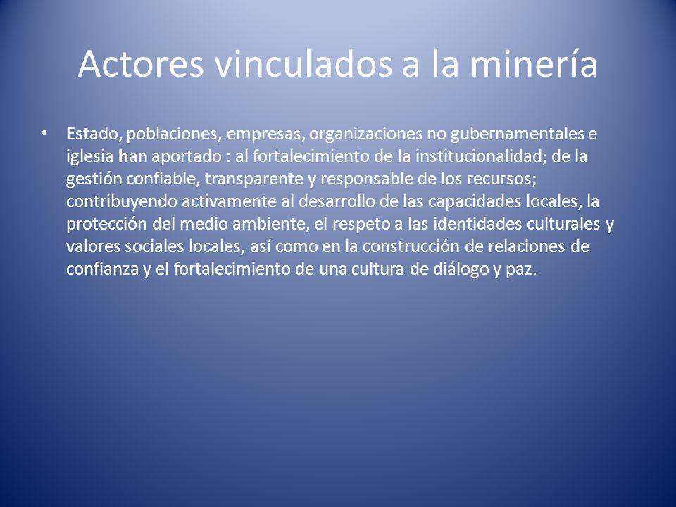 Actores vinculados a la minería Estado, poblaciones, empresas, organizaciones no gubernamentales e iglesia han aportado : al fortalecimiento de la ins