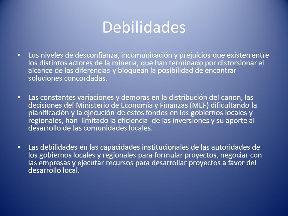 Debilidades Los niveles de desconfianza, incomunicación y prejuicios que existen entre los distintos actores de la minería, que han terminado por dist