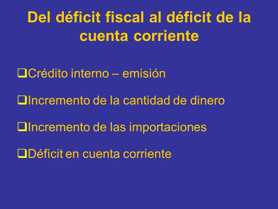 Del déficit fiscal al déficit de la cuenta corriente Crédito interno – emisión Incremento de la cantidad de dinero Incremento de las importaciones Déf