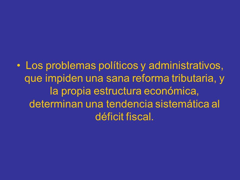 Los problemas políticos y administrativos, que impiden una sana reforma tributaria, y la propia estructura económica, determinan una tendencia sistemá