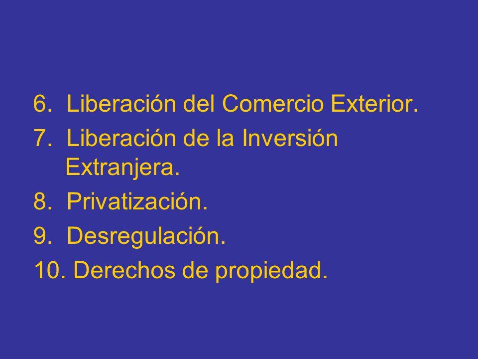6. Liberación del Comercio Exterior. 7. Liberación de la Inversión Extranjera. 8. Privatización. 9. Desregulación. 10. Derechos de propiedad.