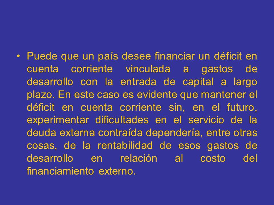Si el país es deudor neto, la economía deberá registrar un superávit en cuenta corriente en el futuro con un valor actual descontado igual a su deuda neta inicial.