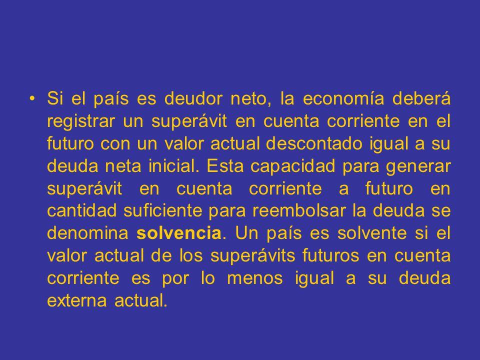 Si el país es deudor neto, la economía deberá registrar un superávit en cuenta corriente en el futuro con un valor actual descontado igual a su deuda