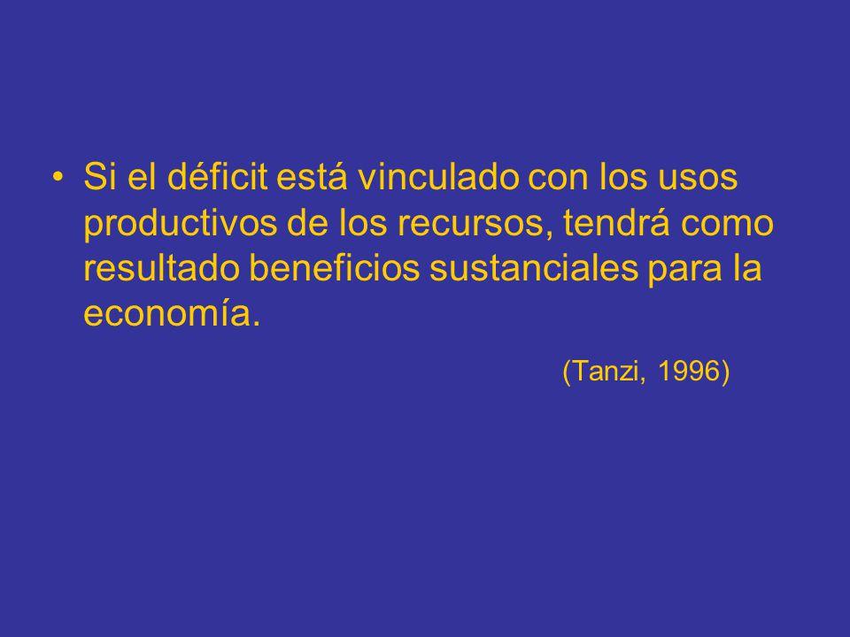 Si el déficit está vinculado con los usos productivos de los recursos, tendrá como resultado beneficios sustanciales para la economía. (Tanzi, 1996)