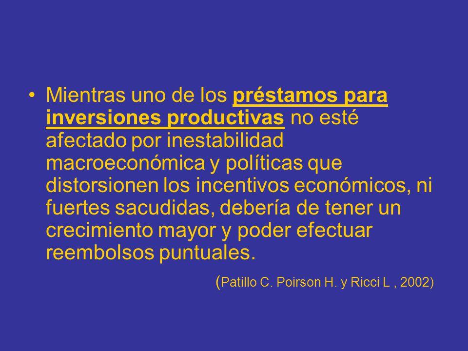 Mientras uno de los préstamos para inversiones productivas no esté afectado por inestabilidad macroeconómica y políticas que distorsionen los incentiv