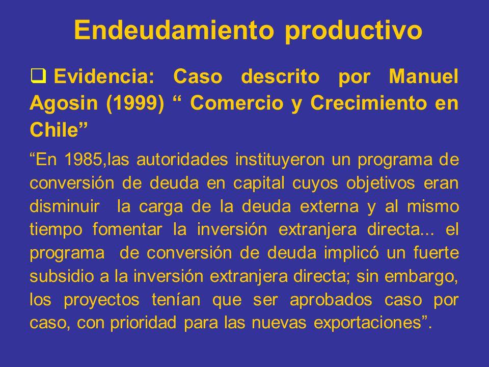 Endeudamiento productivo Evidencia: Caso descrito por Manuel Agosin (1999) Comercio y Crecimiento en Chile En 1985,las autoridades instituyeron un pro