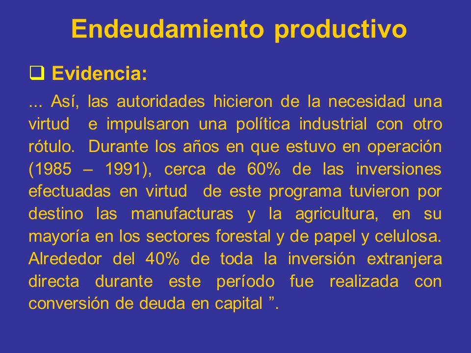 Endeudamiento productivo Evidencia:... Así, las autoridades hicieron de la necesidad una virtud e impulsaron una política industrial con otro rótulo.