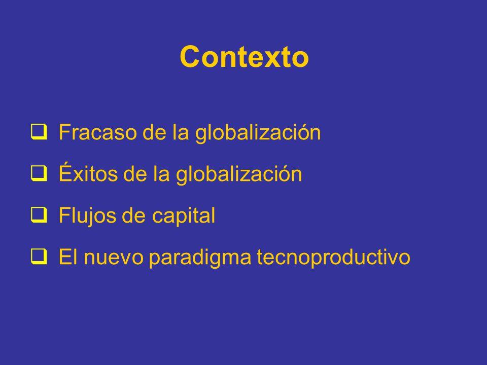 Contexto Fracaso de la globalización Éxitos de la globalización Flujos de capital El nuevo paradigma tecnoproductivo