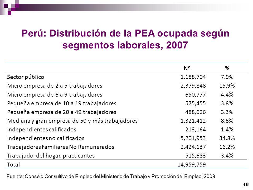 Perú: Distribución de la PEA ocupada según segmentos laborales, 2007 Fuente: Consejo Consultivo de Empleo del Ministerio de Trabajo y Promoción del Em