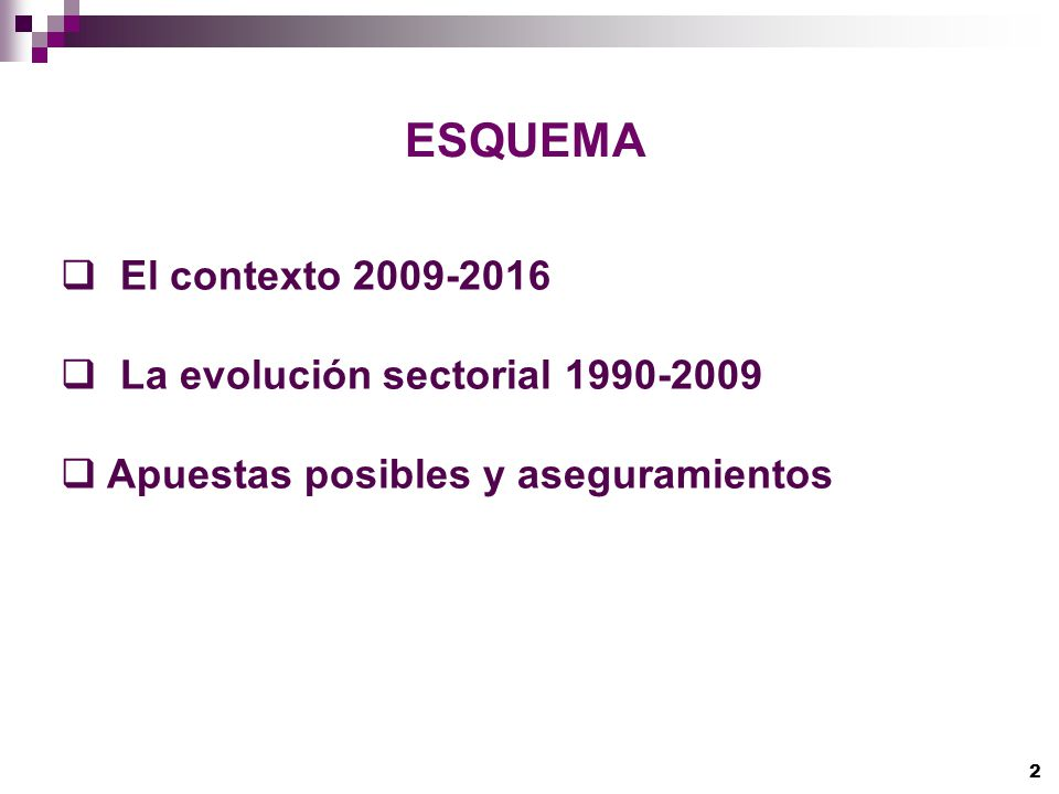 2 ESQUEMA El contexto 2009-2016 La evolución sectorial 1990-2009 Apuestas posibles y aseguramientos