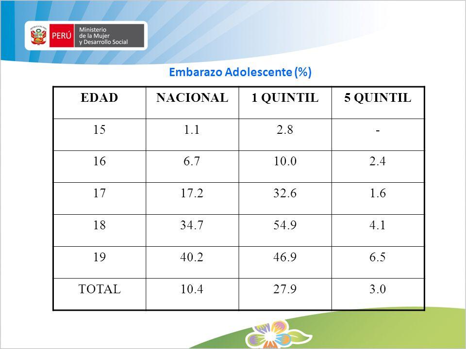 Embarazo Adolescente (%) EDADNACIONAL1 QUINTIL5 QUINTIL 151.12.8- 166.710.02.4 1717.232.61.6 1834.754.94.1 1940.246.96.5 TOTAL10.427.93.0