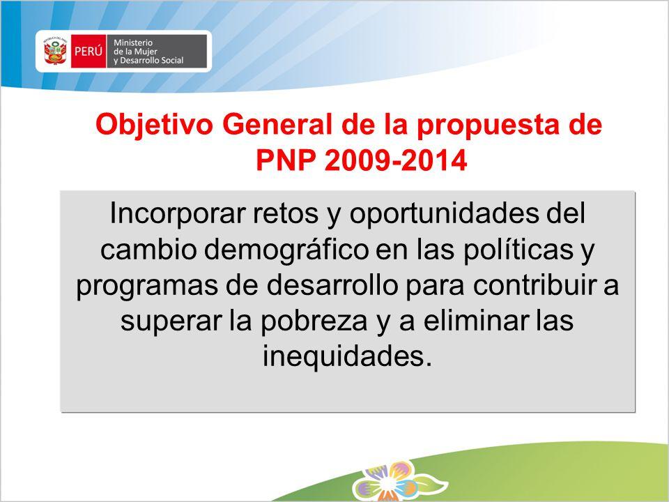 Objetivo General de la propuesta de PNP 2009-2014 Incorporar retos y oportunidades del cambio demográfico en las políticas y programas de desarrollo p