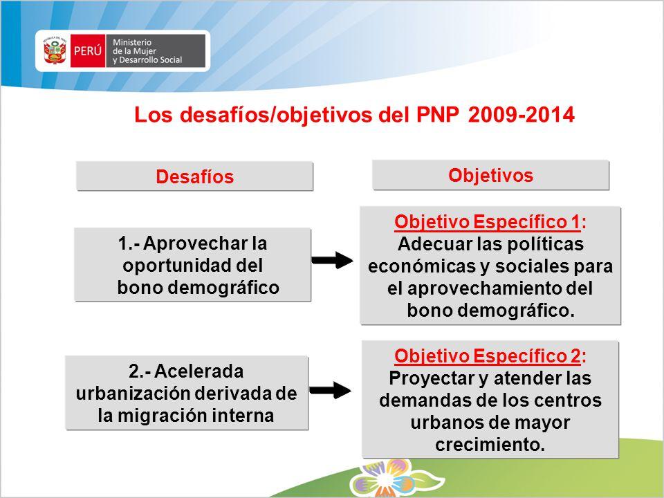 Los desafíos/objetivos del PNP 2009-2014 1.- Aprovechar la oportunidad del bono demográfico Objetivo Específico 1: Adecuar las políticas económicas y