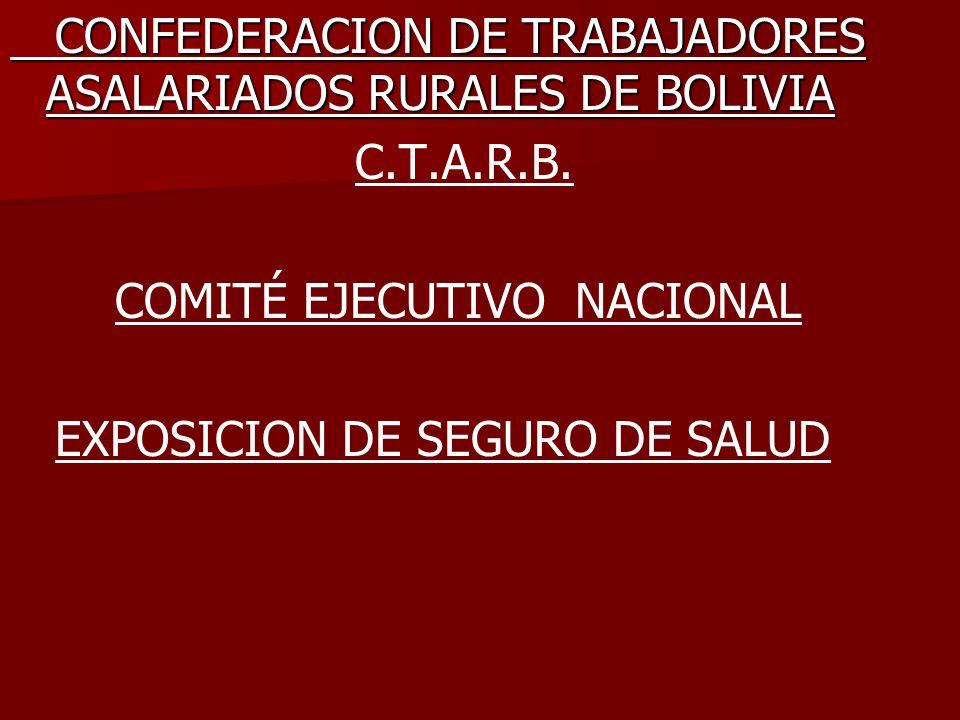CONFEDERACION DE TRABAJADORES ASALARIADOS RURALES DE BOLIVIA CONFEDERACION DE TRABAJADORES ASALARIADOS RURALES DE BOLIVIA C.T.A.R.B. COMITÉ EJECUTIVO