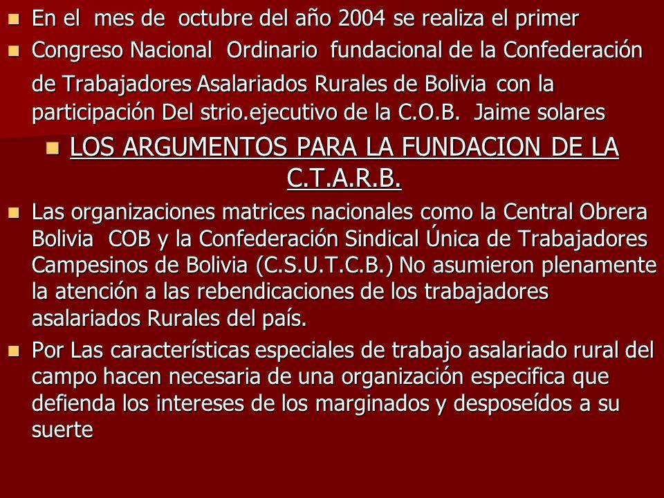 En el mes de octubre del año 2004 se realiza el primer En el mes de octubre del año 2004 se realiza el primer Congreso Nacional Ordinario fundacional