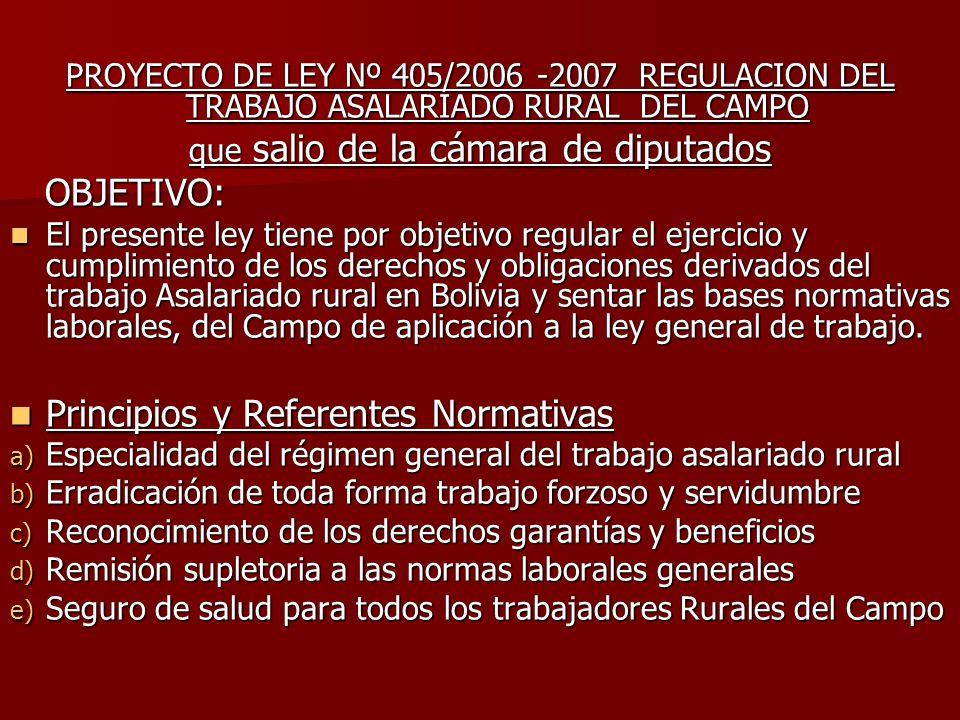 PROYECTO DE LEY Nº 405/2006 -2007 REGULACION DEL TRABAJO ASALARIADO RURAL DEL CAMPO que salio de la cámara de diputados OBJETIVO: OBJETIVO: El present