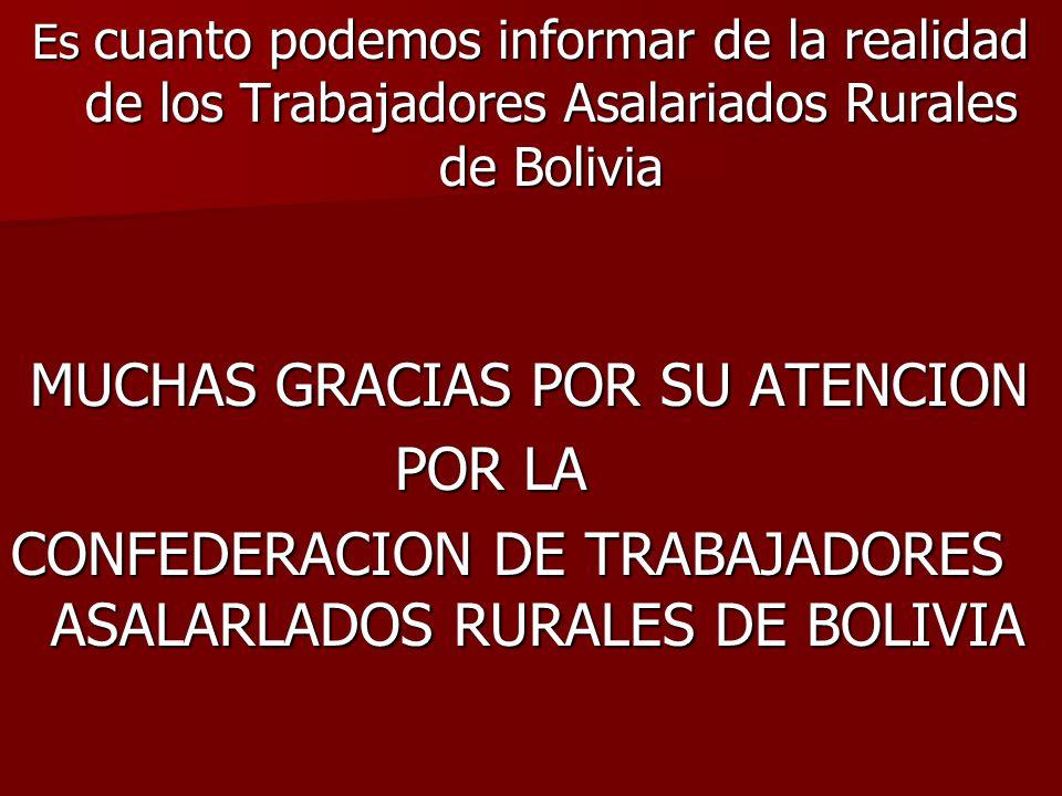 Es cuanto podemos informar de la realidad de los Trabajadores Asalariados Rurales de Bolivia MUCHAS GRACIAS POR SU ATENCION MUCHAS GRACIAS POR SU ATEN