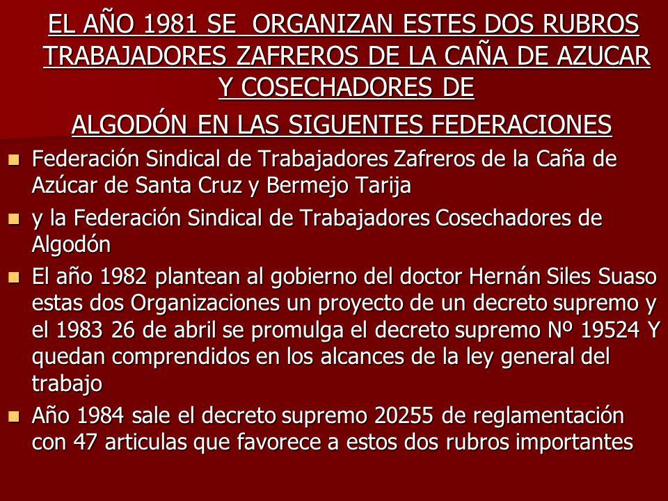 EL AÑO 1981 SE ORGANIZAN ESTES DOS RUBROS TRABAJADORES ZAFREROS DE LA CAÑA DE AZUCAR Y COSECHADORES DE EL AÑO 1981 SE ORGANIZAN ESTES DOS RUBROS TRABA