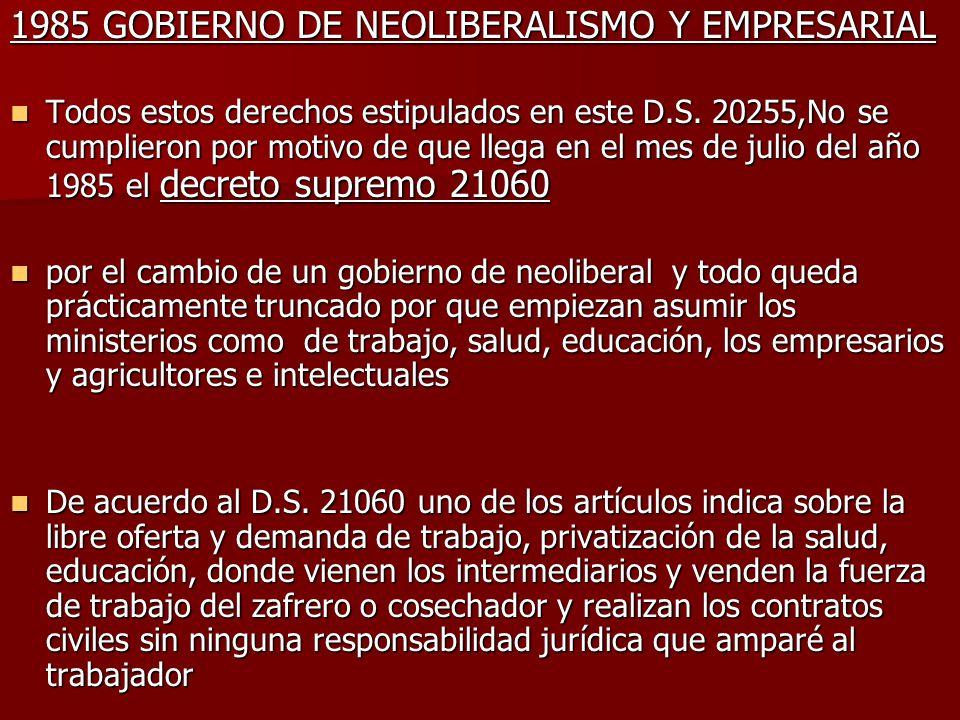 1985 GOBIERNO DE NEOLIBERALISMO Y EMPRESARIAL Todos estos derechos estipulados en este D.S. 20255,No se cumplieron por motivo de que llega en el mes d