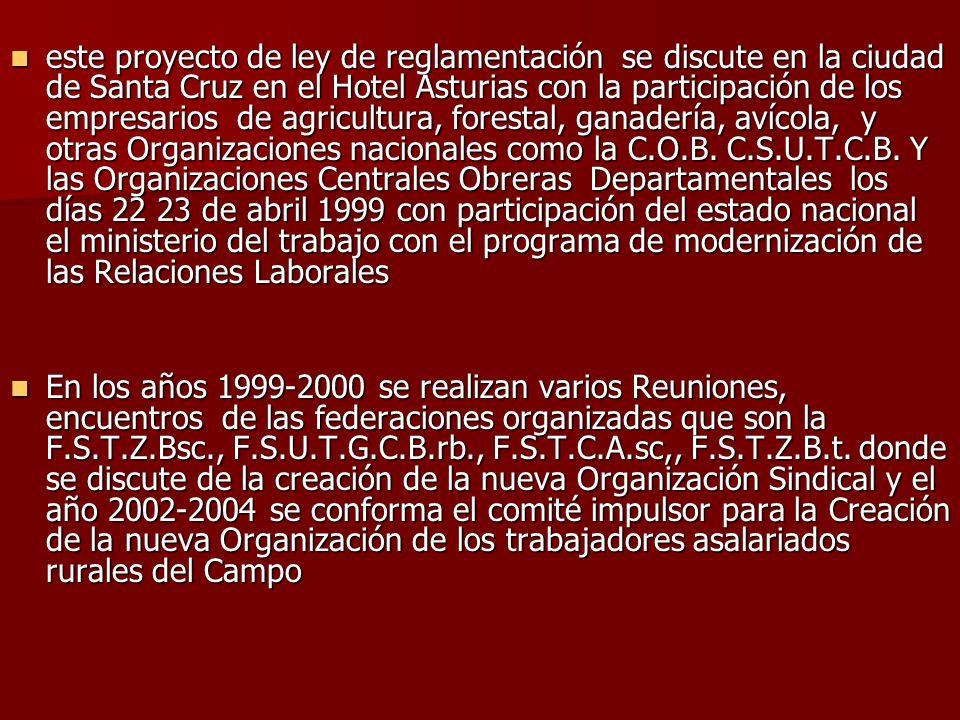 este proyecto de ley de reglamentación se discute en la ciudad de Santa Cruz en el Hotel Asturias con la participación de los empresarios de agricultu