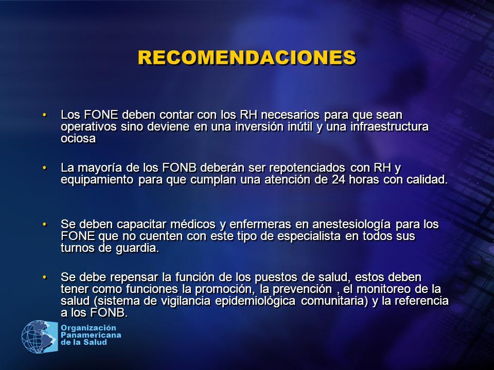 2005 Organización Panamericana de la Salud RECOMENDACIONES Los FONE deben contar con los RH necesarios para que sean operativos sino deviene en una in