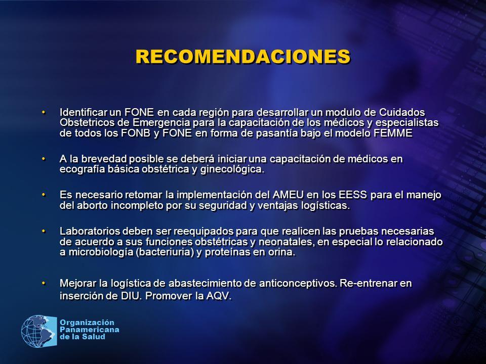 2005 Organización Panamericana de la Salud RECOMENDACIONES Identificar un FONE en cada región para desarrollar un modulo de Cuidados Obstetricos de Em