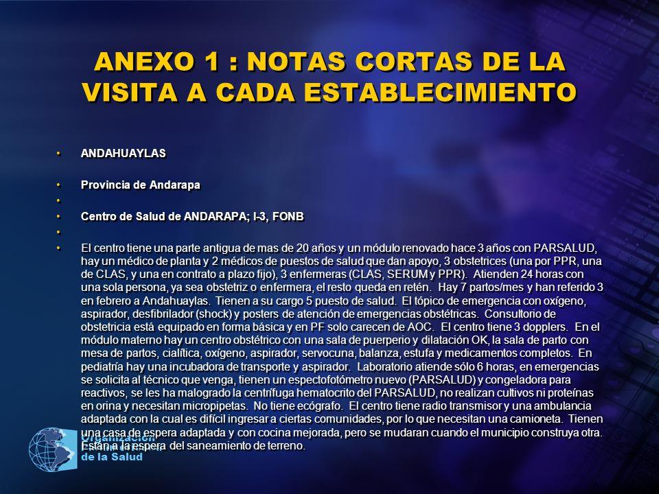 2005 Organización Panamericana de la Salud ANEXO 1 : NOTAS CORTAS DE LA VISITA A CADA ESTABLECIMIENTO ANDAHUAYLAS Provincia de Andarapa Centro de Salu