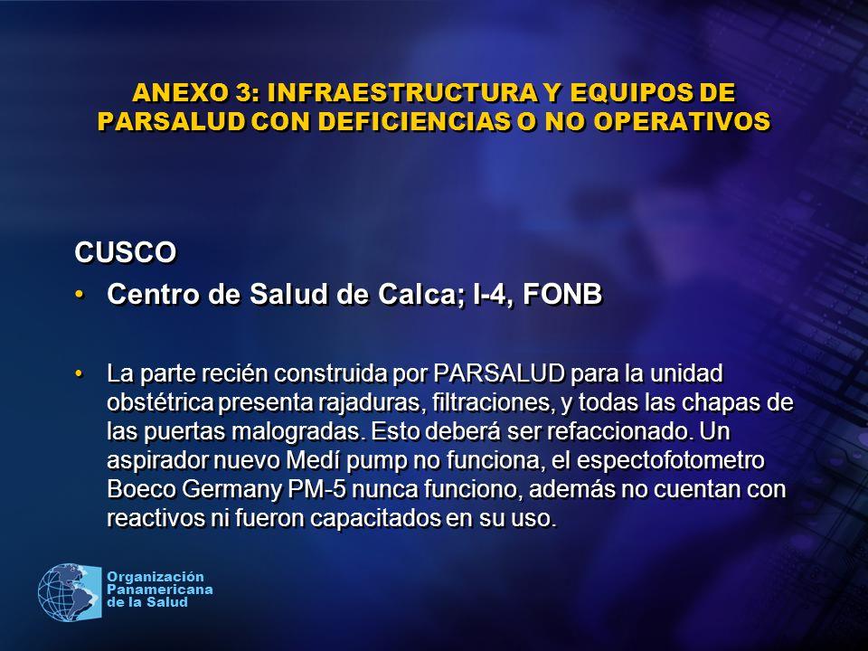 2005 Organización Panamericana de la Salud ANEXO 3: INFRAESTRUCTURA Y EQUIPOS DE PARSALUD CON DEFICIENCIAS O NO OPERATIVOS CUSCO Centro de Salud de Ca