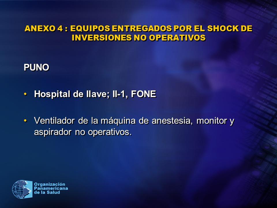 2005 Organización Panamericana de la Salud ANEXO 4 : EQUIPOS ENTREGADOS POR EL SHOCK DE INVERSIONES NO OPERATIVOS PUNO Hospital de Ilave; II-1, FONE V