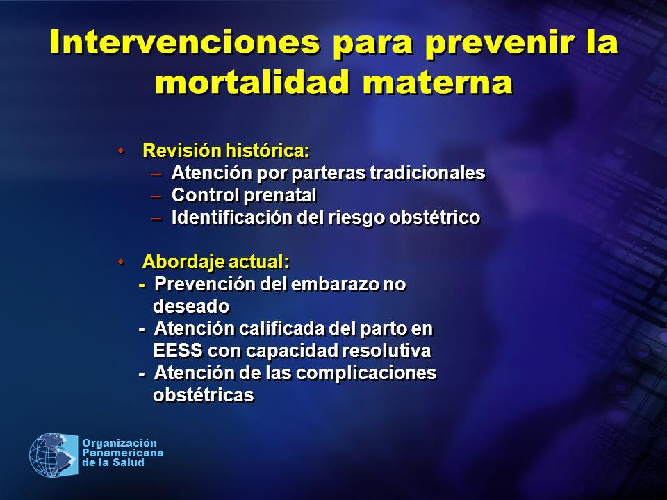 2005 Organización Panamericana de la Salud Intervenciones para prevenir la mortalidad materna Revisión histórica: –Atención por parteras tradicionales