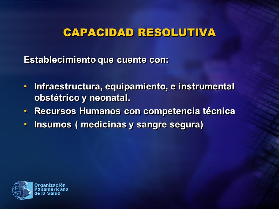 2005 Organización Panamericana de la Salud CAPACIDAD RESOLUTIVA Establecimiento que cuente con: Infraestructura, equipamiento, e instrumental obstétri