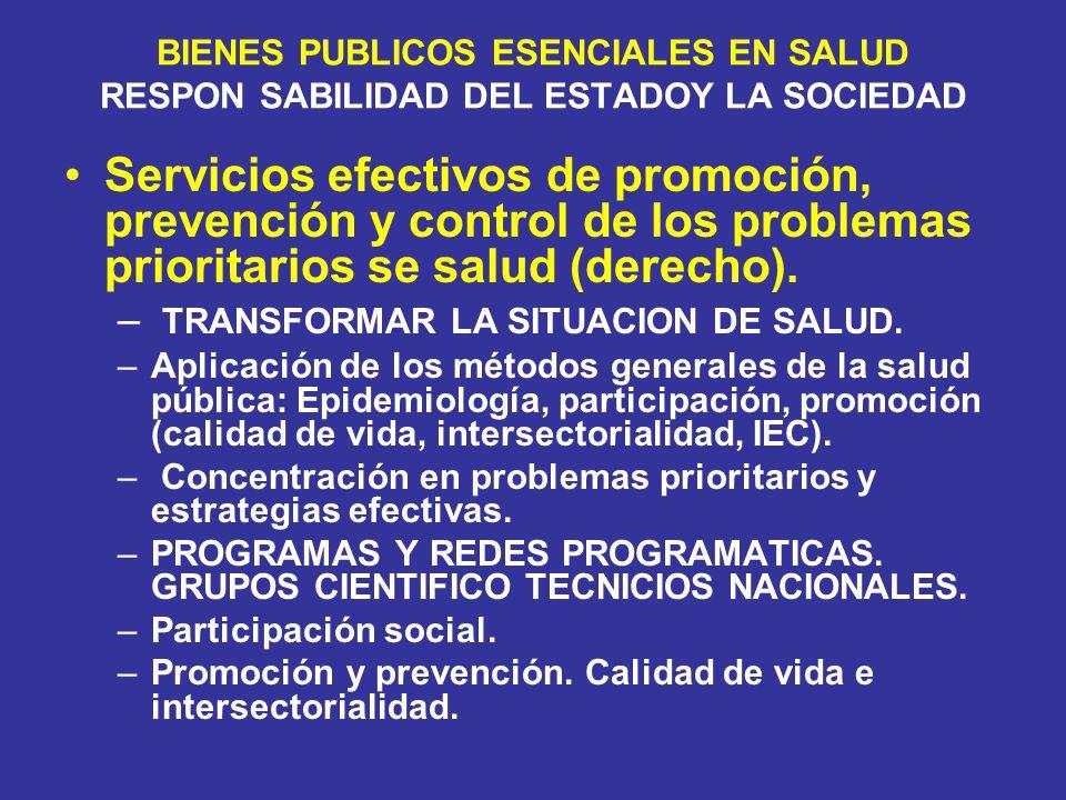 BIENES PUBLICOS ESENCIALES EN SALUD RESPON SABILIDAD DEL ESTADOY LA SOCIEDAD Servicios efectivos de promoción, prevención y control de los problemas p