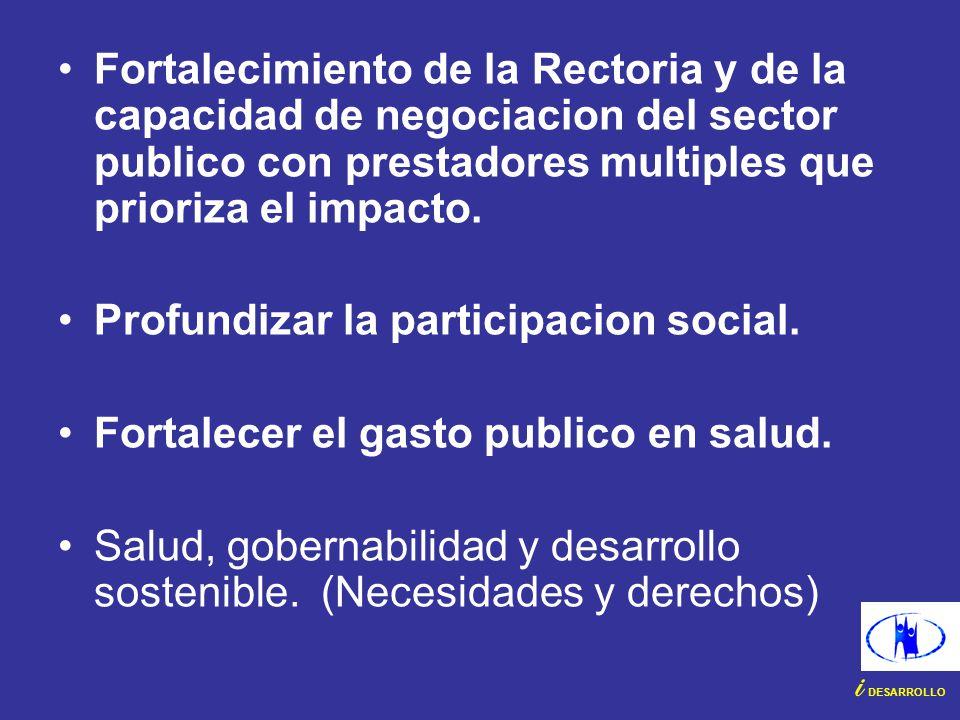 Fortalecimiento de la Rectoria y de la capacidad de negociacion del sector publico con prestadores multiples que prioriza el impacto. Profundizar la p