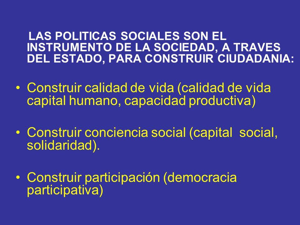 LAS POLITICAS SOCIALES SON EL INSTRUMENTO DE LA SOCIEDAD, A TRAVES DEL ESTADO, PARA CONSTRUIR CIUDADANIA: Construir calidad de vida (calidad de vida c