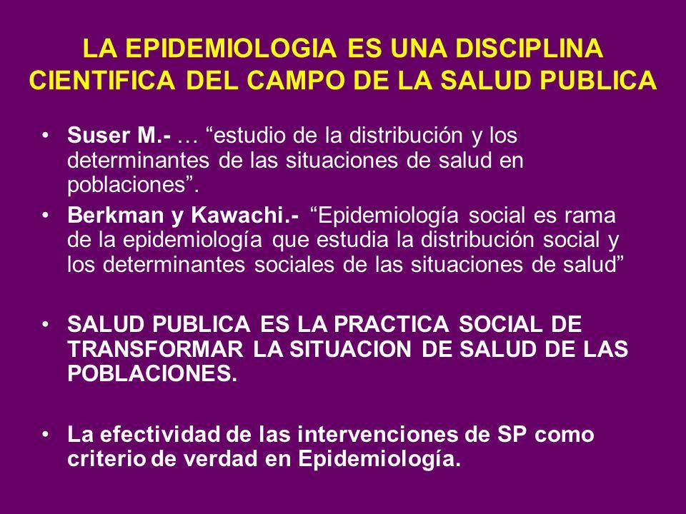 LA EPIDEMIOLOGIA ES UNA DISCIPLINA CIENTIFICA DEL CAMPO DE LA SALUD PUBLICA Suser M.- … estudio de la distribución y los determinantes de las situacio