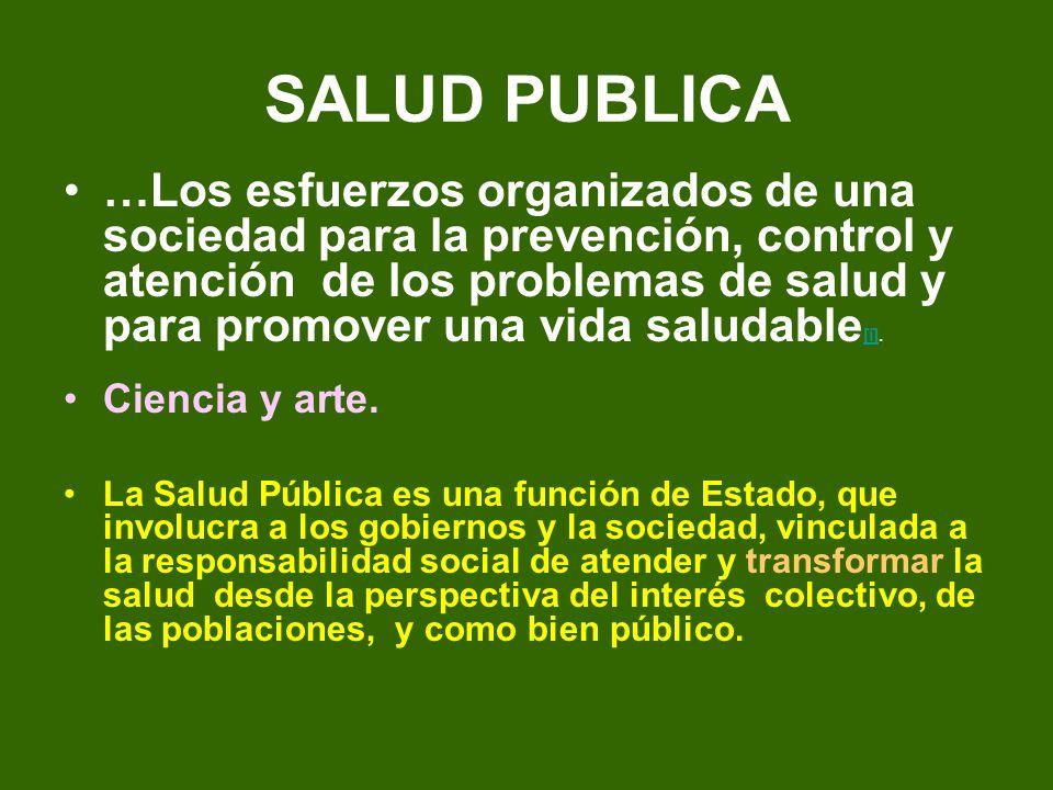 SALUD PUBLICA …Los esfuerzos organizados de una sociedad para la prevención, control y atención de los problemas de salud y para promover una vida sal