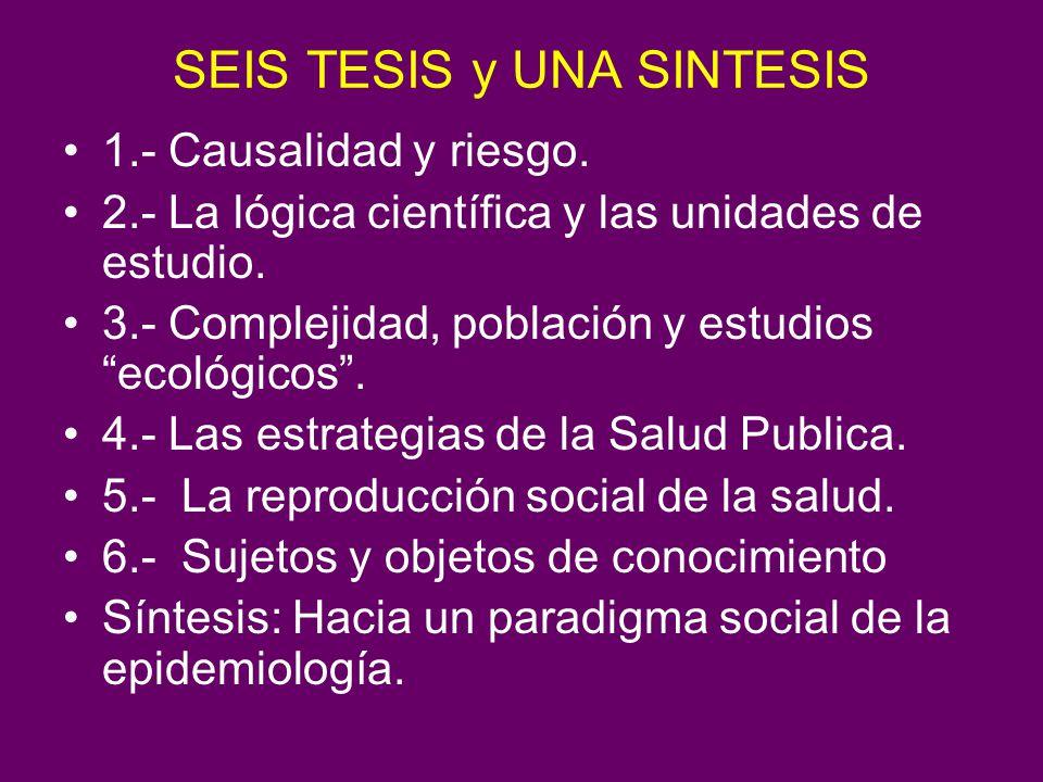 SEIS TESIS y UNA SINTESIS 1.- Causalidad y riesgo. 2.- La lógica científica y las unidades de estudio. 3.- Complejidad, población y estudios ecológico