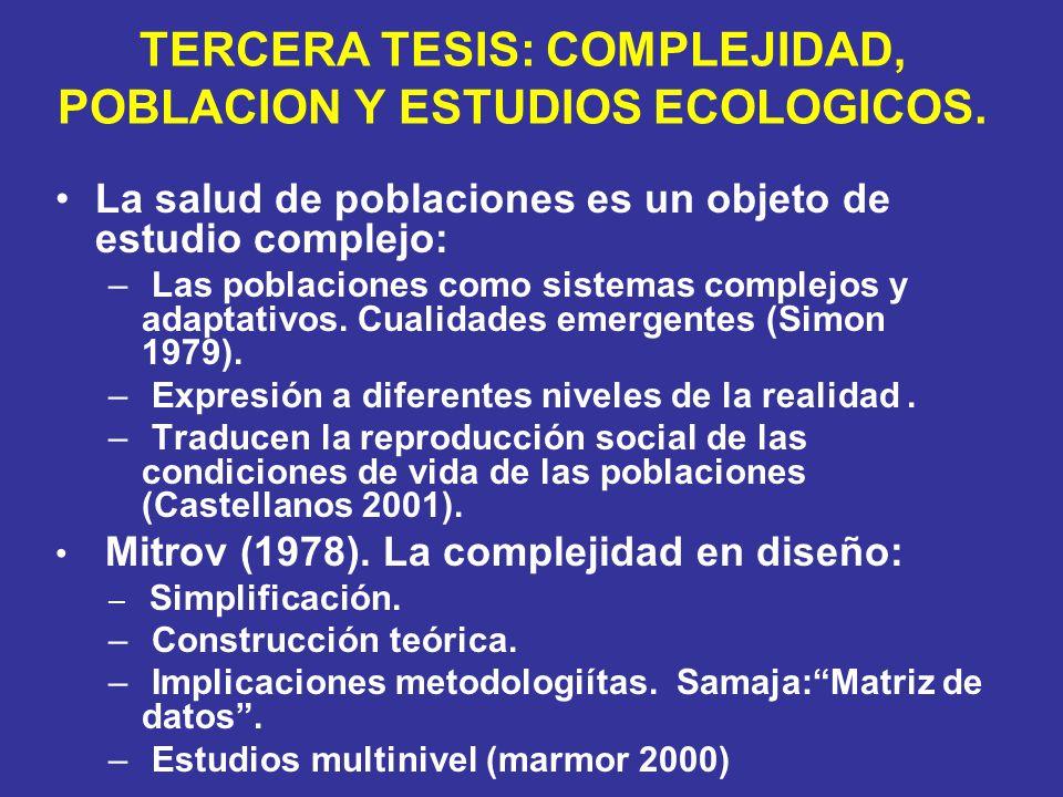 TERCERA TESIS: COMPLEJIDAD, POBLACION Y ESTUDIOS ECOLOGICOS. La salud de poblaciones es un objeto de estudio complejo: – Las poblaciones como sistemas