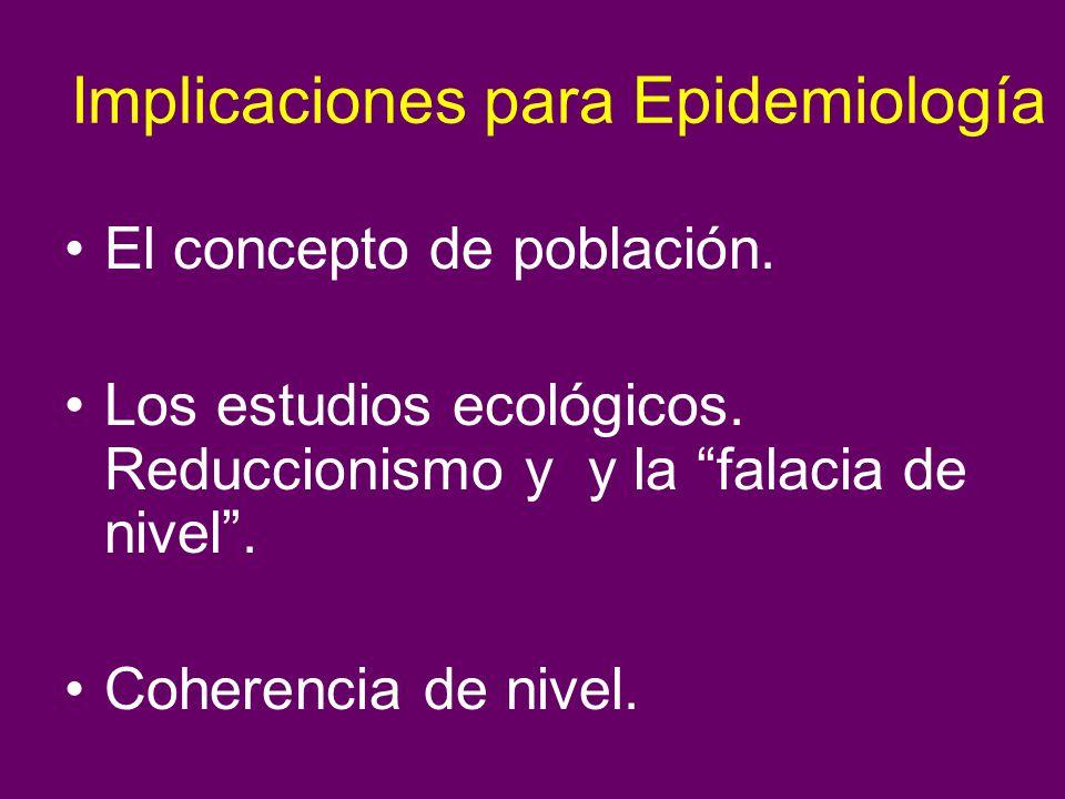 Implicaciones para Epidemiología El concepto de población. Los estudios ecológicos. Reduccionismo y y la falacia de nivel. Coherencia de nivel.