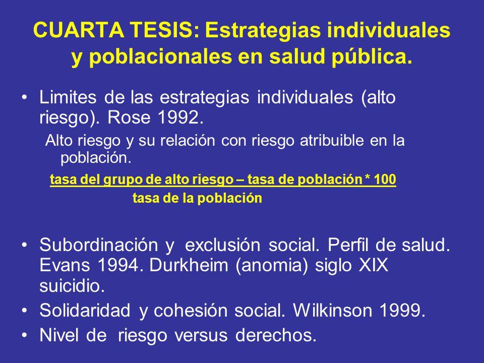 CUARTA TESIS: Estrategias individuales y poblacionales en salud pública. Limites de las estrategias individuales (alto riesgo). Rose 1992. Alto riesgo