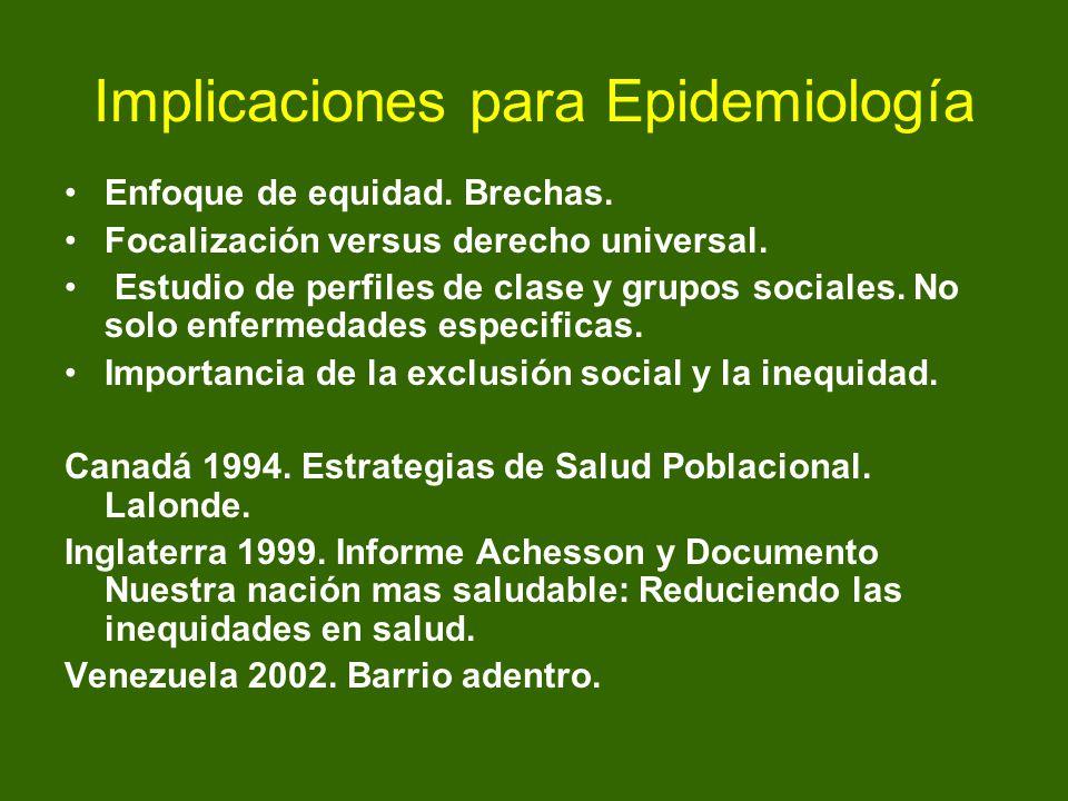 Implicaciones para Epidemiología Enfoque de equidad. Brechas. Focalización versus derecho universal. Estudio de perfiles de clase y grupos sociales. N
