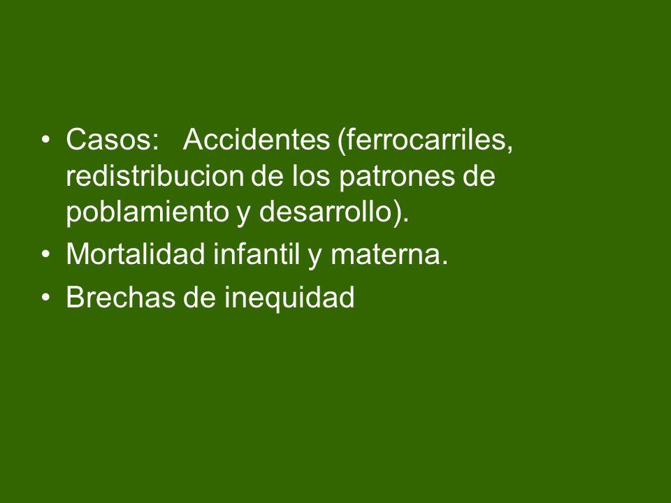 Casos: Accidentes (ferrocarriles, redistribucion de los patrones de poblamiento y desarrollo). Mortalidad infantil y materna. Brechas de inequidad