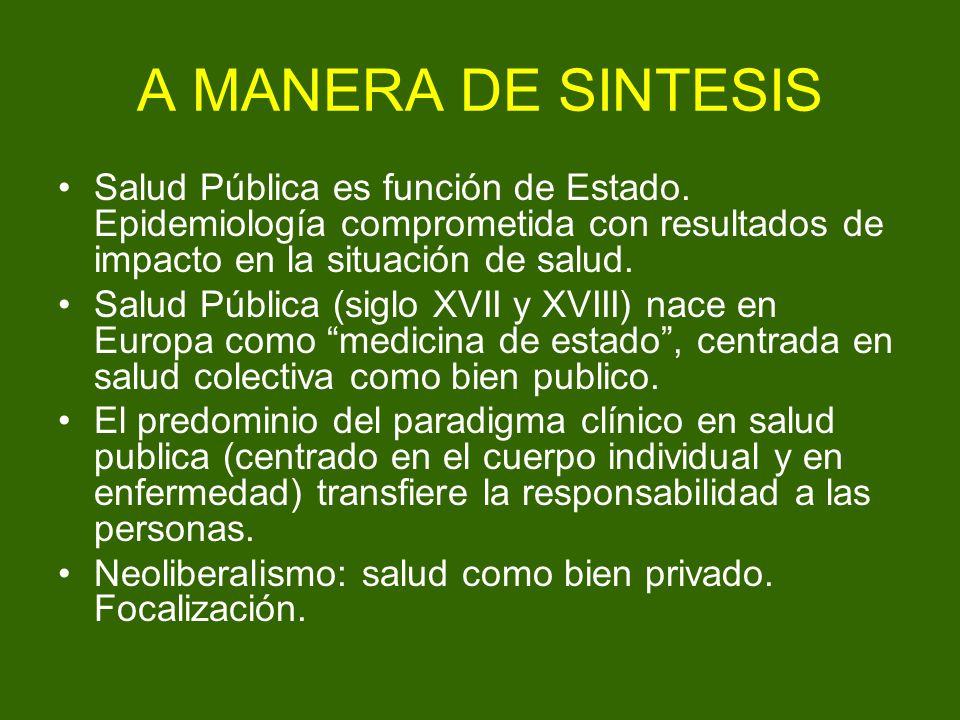 A MANERA DE SINTESIS Salud Pública es función de Estado. Epidemiología comprometida con resultados de impacto en la situación de salud. Salud Pública
