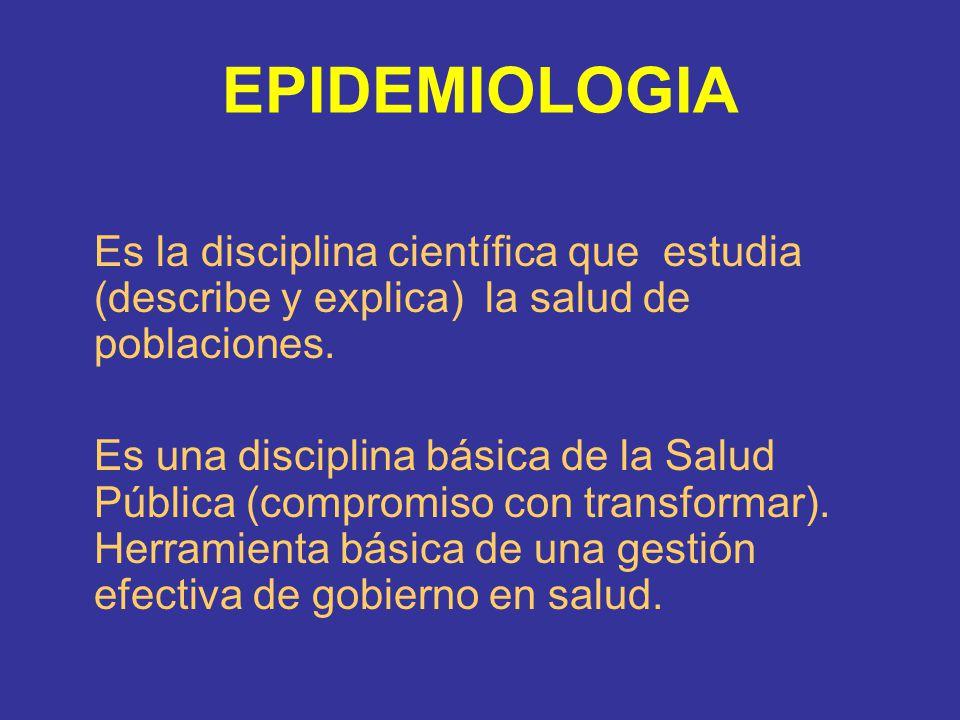EPIDEMIOLOGIA Es la disciplina científica que estudia (describe y explica) la salud de poblaciones. Es una disciplina básica de la Salud Pública (comp