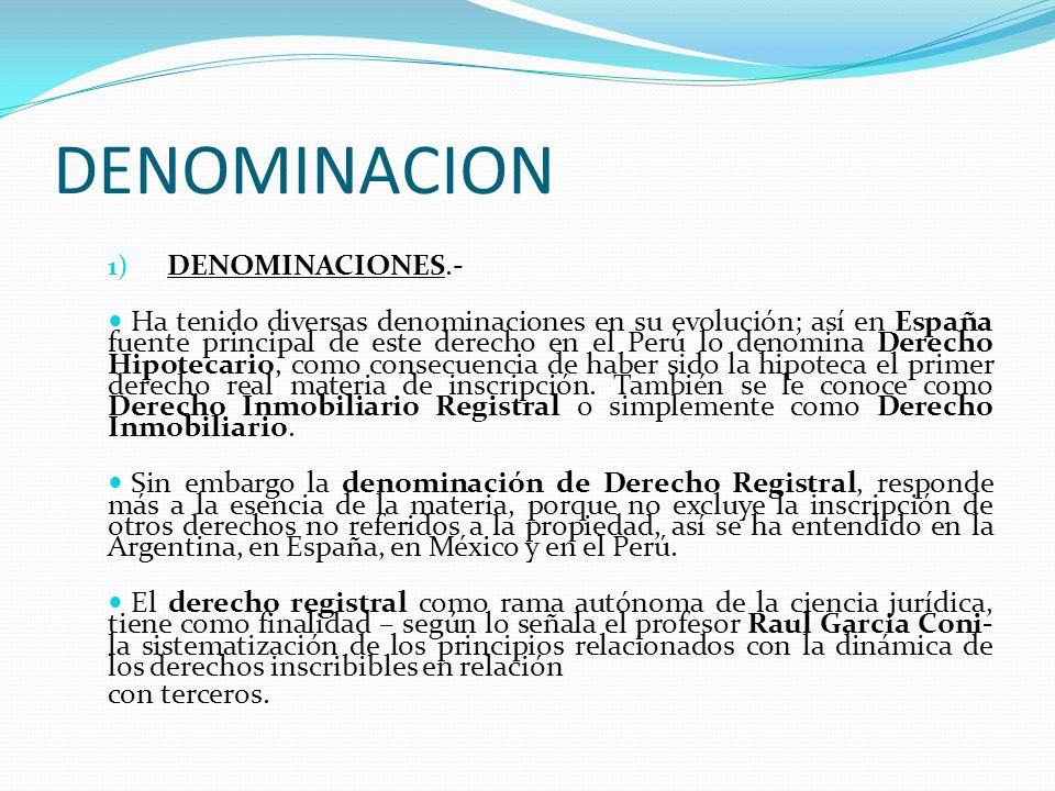 I.- DERECHO REGISTRAL