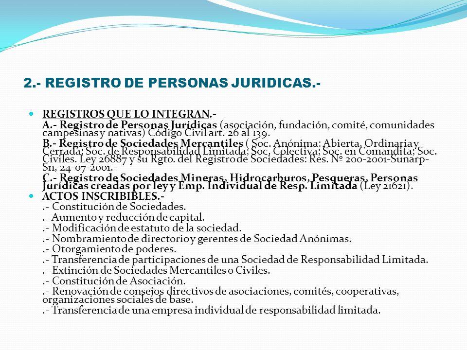 1.- REGISTRO DE PROPIEDAD INMUEBLE. REGISTROS QUE LO INTEGRAN: A) Registro de Predios. B) Registro de Concesiones para la Explotación de Servicios Púb